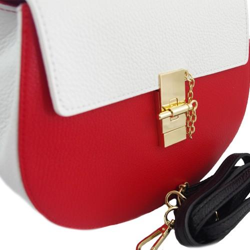 Geanta piele alba cu rosu Model GF214 Genti Femei
