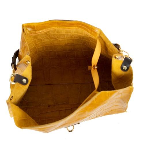 Geanta piele galben mustar cu imprimeu GF2154