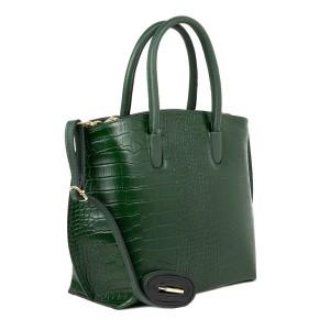 Geanta dama piele verde imprimeu crocodil GF2196