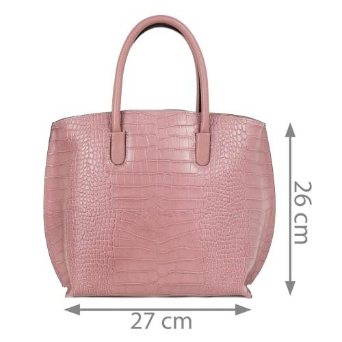 Geanta dama piele roz imprimeu crocodil GF2198