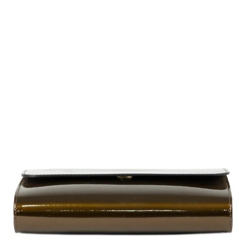Gentuta dama piele lucioasa kaki cu reflexii bronz GF2217