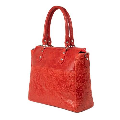 Geanta dama piele rosie cu imprimeu perforat GF2248