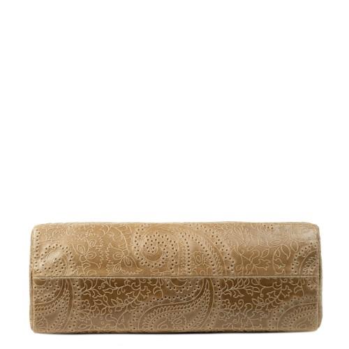 Geanta dama piele taupe cu imprimeu perforat GF2249