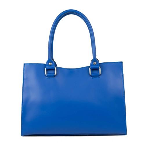 Geanta dama piele albastra cu imprimeu perforat GF2250