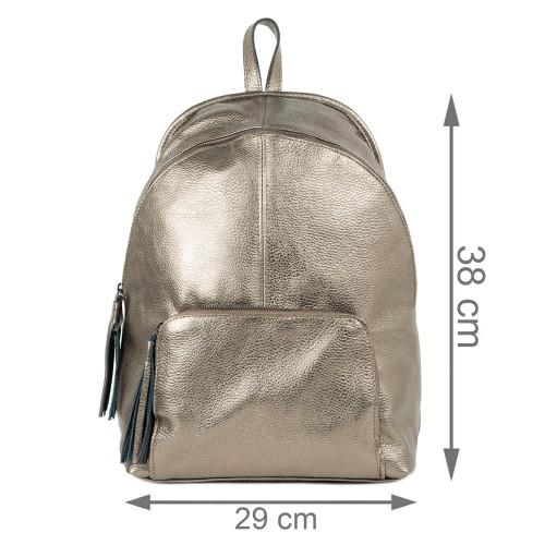 Rucsac din piele bronze cu ciucuri GF2255