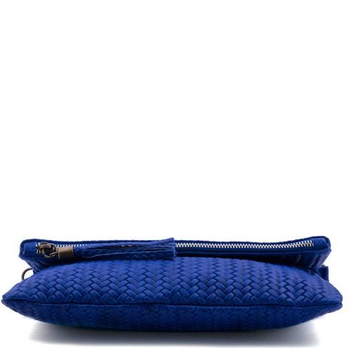 Plic piele albastru cu ciucuri Model GF226