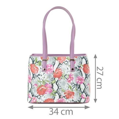 Geanta piele mov imprimeu floral GF2293