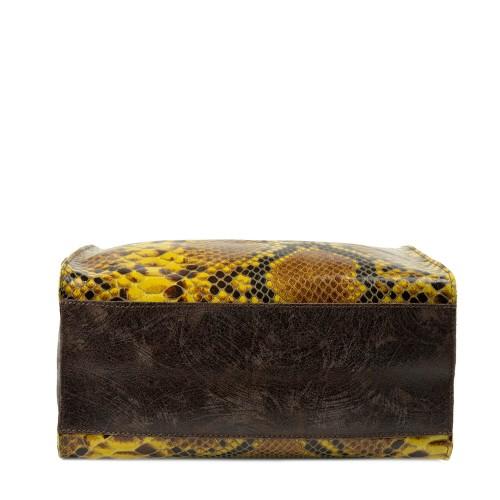 Geanta piele maro/galben mustar cu imprimeu GF2297