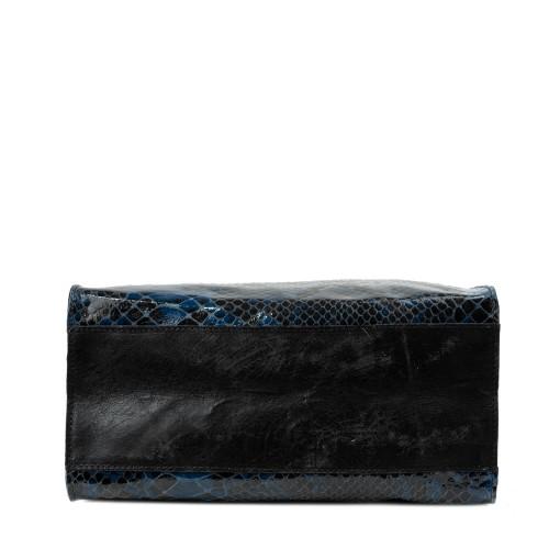 Geanta piele neagra/bleumarin cu imprimeu GF2298