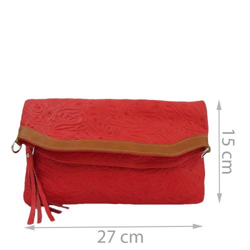 Plic piele rosu cu ciucuri Model GF230