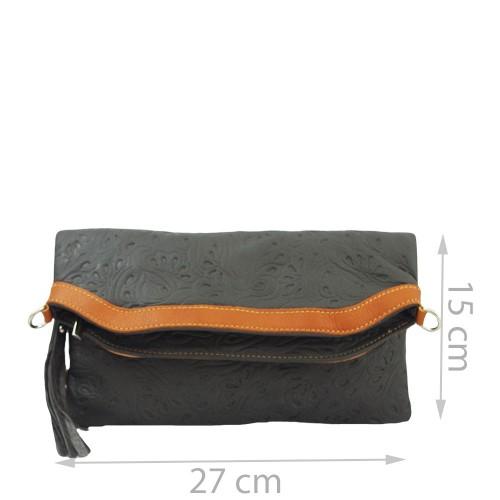 Plic piele gri inchis cu ciucuri Model GF231