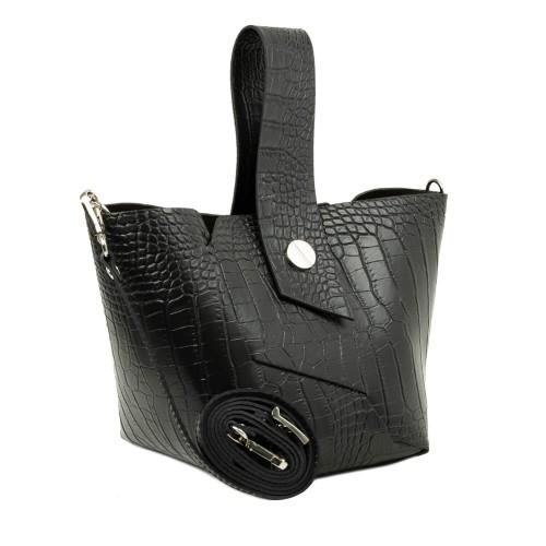 Gentuta piele neagra imprimeu crocodil GF2316