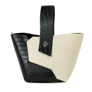 Gentuta piele negru/bej cu imprimeu crocodil GF2317