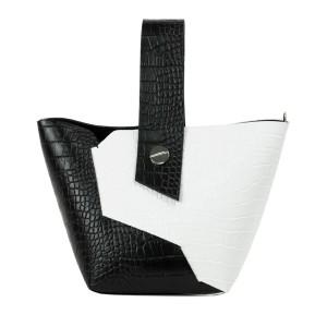 Gentuta piele negru/alb cu imprimeu crocodil GF2318