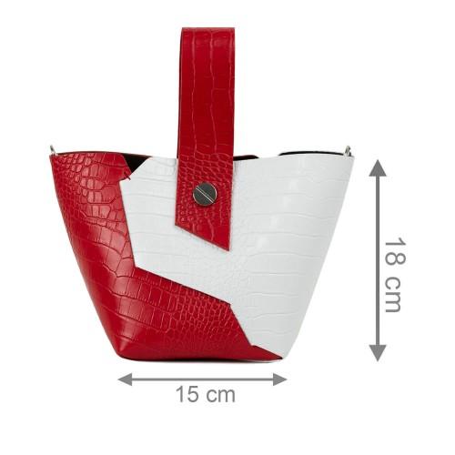Gentuta piele rosie/alb cu imprimeu crocodil GF2320