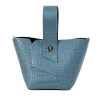 Gentuta piele albastru prafuit imprimeu crocodil GF2321