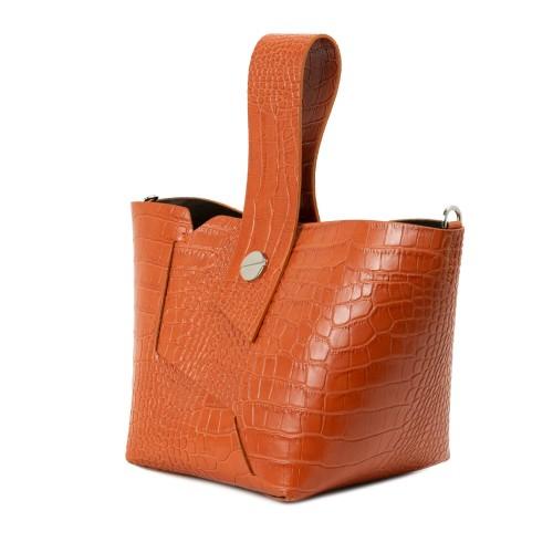 Gentuta piele oranj cu imprimeu crocodil GF2322