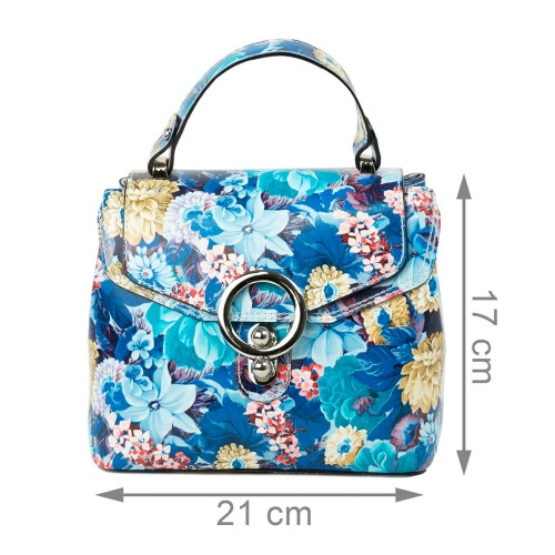 Gentuta dama piele albastra imprimeu floral GF2330