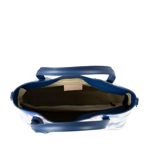 Geanta piele albastru/alb imprimeu GF2369