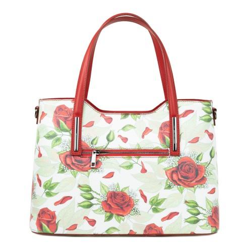 Geanta piele rosie /imprimeu flori mari GF2370