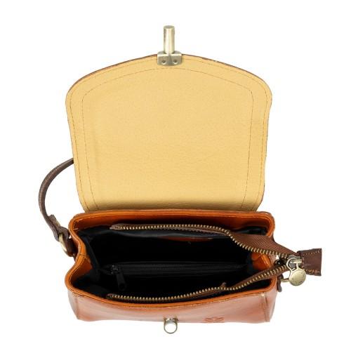 Gentuta dama piele maro roscat/maro inchis GF2390