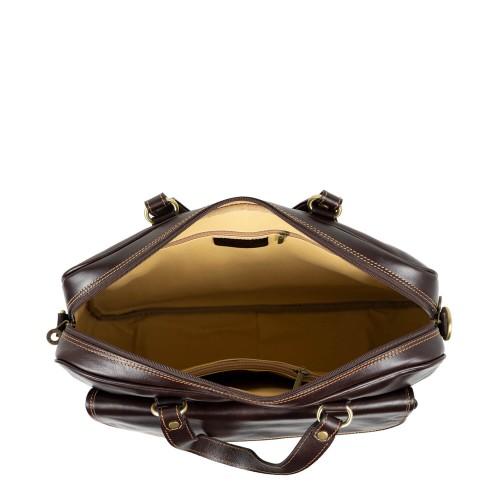 Geanta piele maro inchis tip servieta GF2393