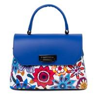 Geanta dama piele albastra cu imprimeu flori GF2407