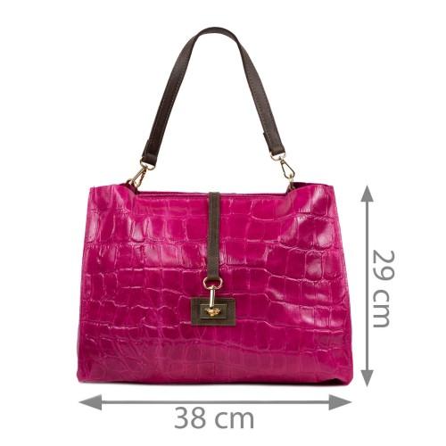 Geanta piele roz cu imprimeu GF2422