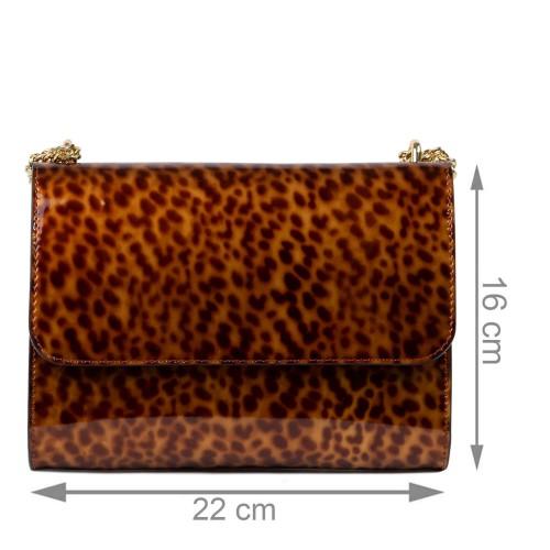 Gentuta dama piele lucioasa maro coniac animal print GF2438