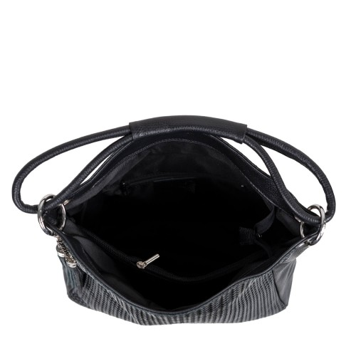 Geanta piele neagra cu imprimeu impletit GF2459