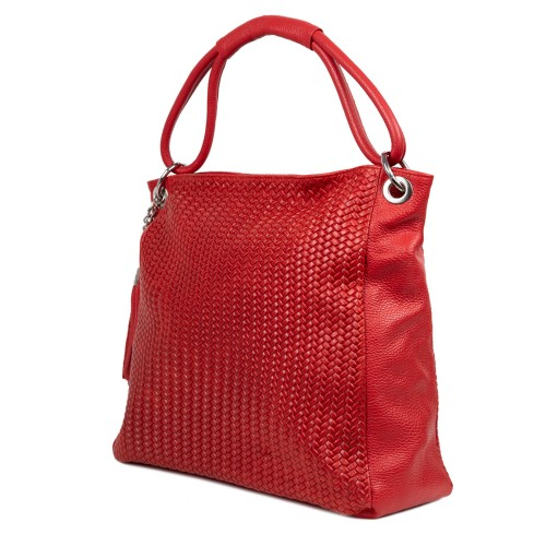 Geanta piele rosie cu imprimeu impletit GF2461