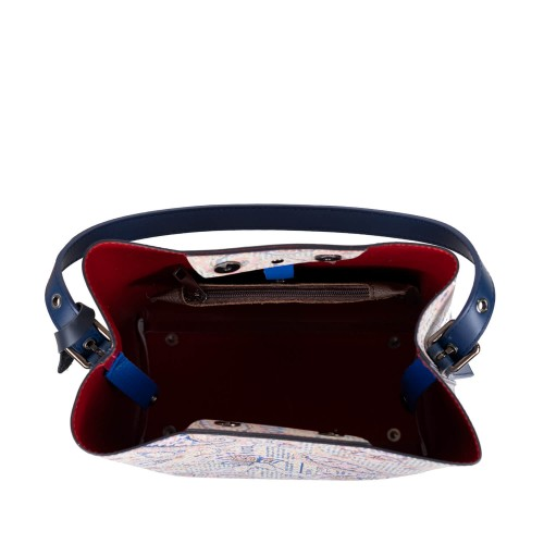 Geanta piele bleumarin cu imprimeu GF2504