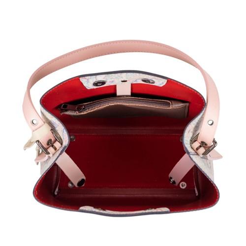 Geanta piele roz cu imprimeu GF2509