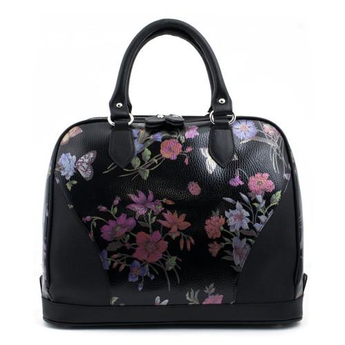 Geanta piele neagra cu imprimeu floral GF251