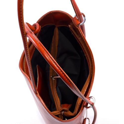 Geanta piele maro cognac GF253