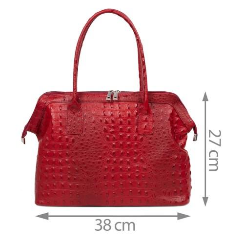 Geanta dama piele rosu inchis cu imprimeu GF2546