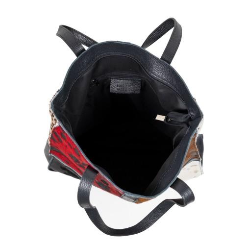 Geanta piele neagra imprimeu par ponei GF2549
