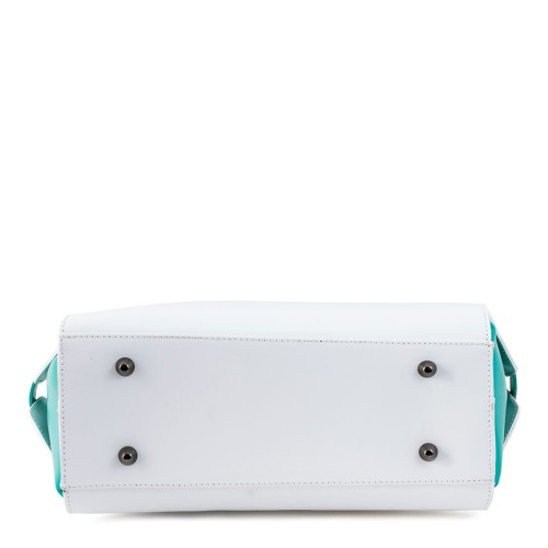 Geanta piele alb cu verde GF258