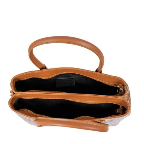 Geanta piele maro ciocolatiu imprimeu GF2580