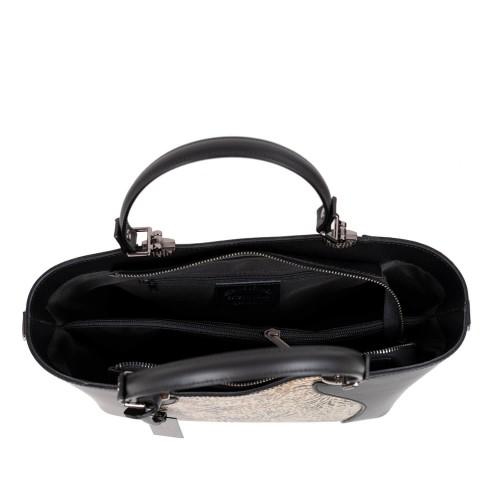 Geanta piele neagra cu imprimeu GF2590