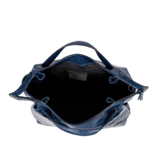 Geanta piele bleumarin cu imprimeu GF2623