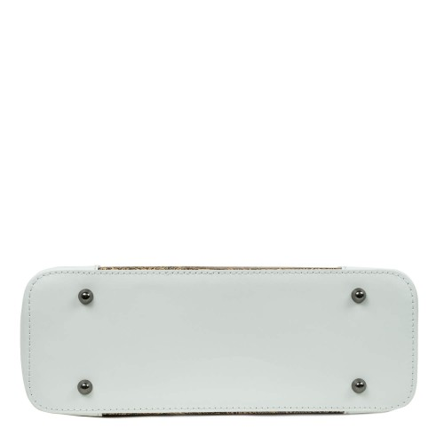 Geanta piele alba /paisley GF2644