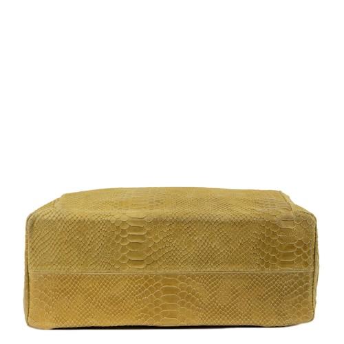 Geanta piele cappuccino cu imprimeu GF268