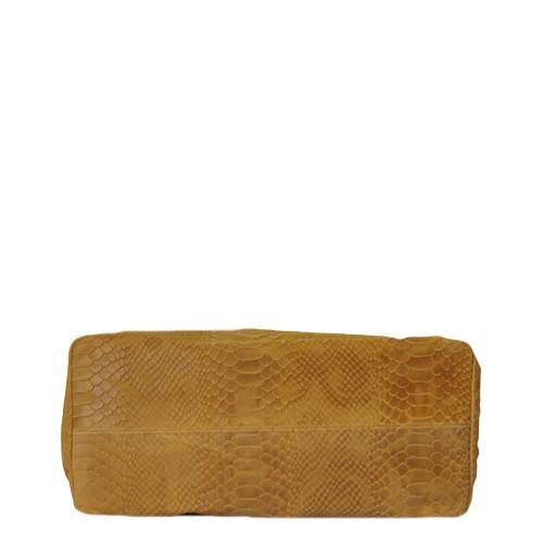 Geanta piele cappuccino cu imprimeu GF268 Genti Femei
