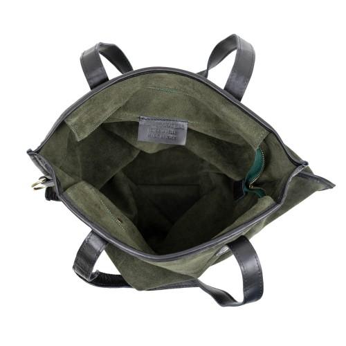 Geanta dama piele verde kaki /negru GF2745