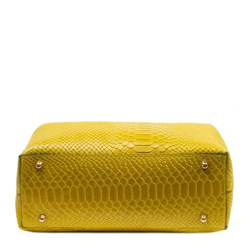 Geanta piele galben cu imprimeu GF2777
