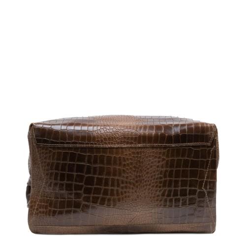 Geanta piele maro cu imprimeu GF2889