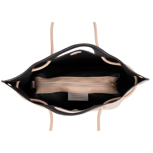 Geanta dama piele taupe deschis GF2997