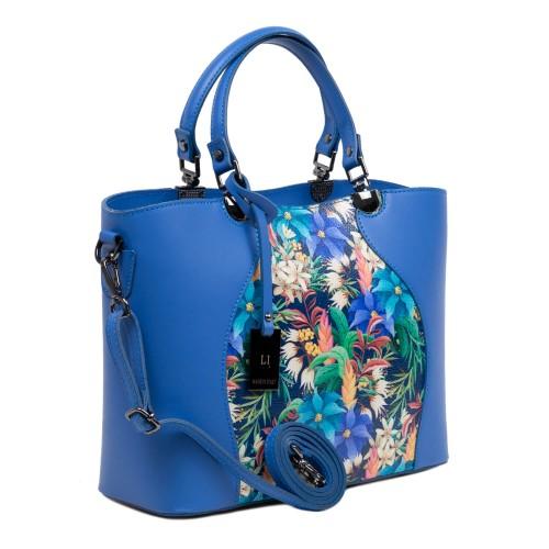 Geanta piele albastra cu imprimeu GF3009