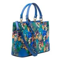 Geanta piele albastra imprimeu floral GF3010